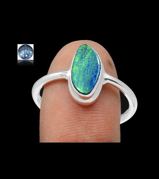 Sz 9.5, Genuine Blue Greenish AUSTRALIAN OPAL Doublet Gemstone, 925 Solid Sterling Silver Delicate Ring Jewellery! by AmeogemJewellery on Etsy