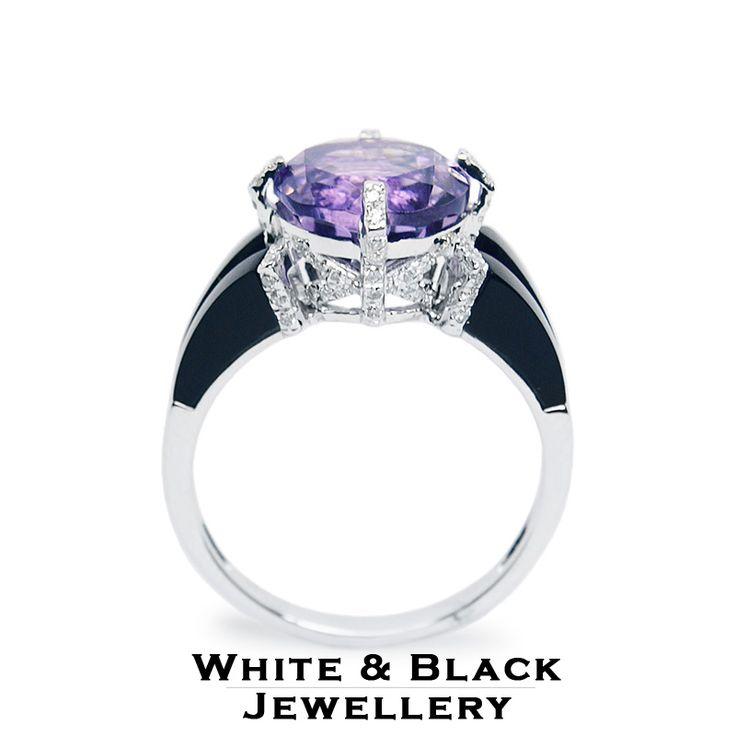 Ametiszt, gyémánt és onix drágakövekkel díszített egyedi fehérarany gyűrű - White gold ring with amethyst, onyx and diamonds