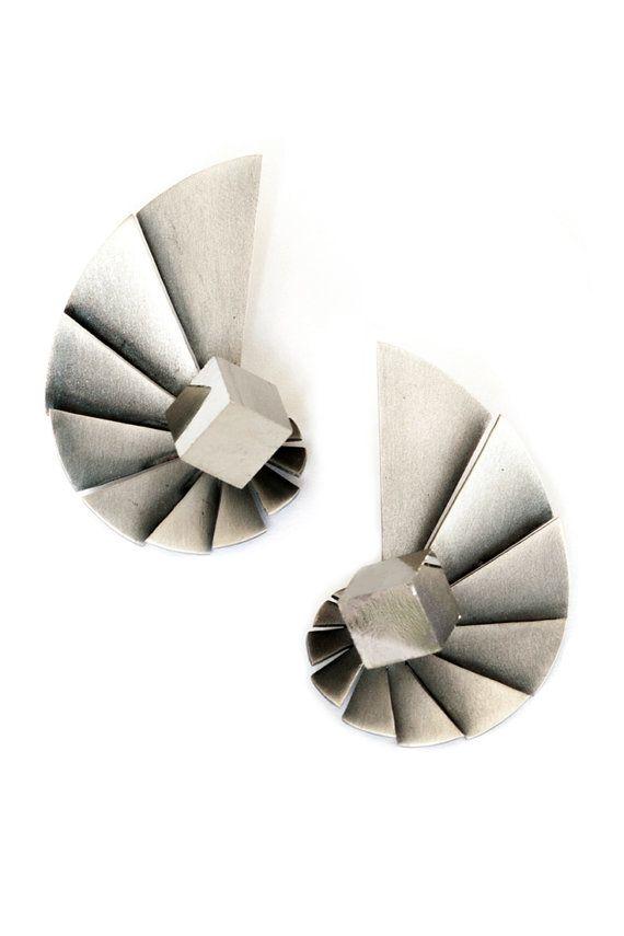 Nautilus Earrings Fibonacci Spiral Sterling Silver by Vangloria