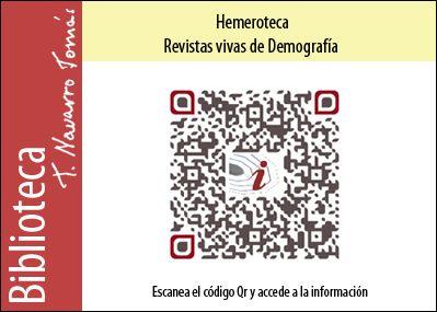 Hemeroteca: Código QR de acceso a la colección de revistas vivas de Demografía, de la Biblioteca Tomás Navarro Tomás.
