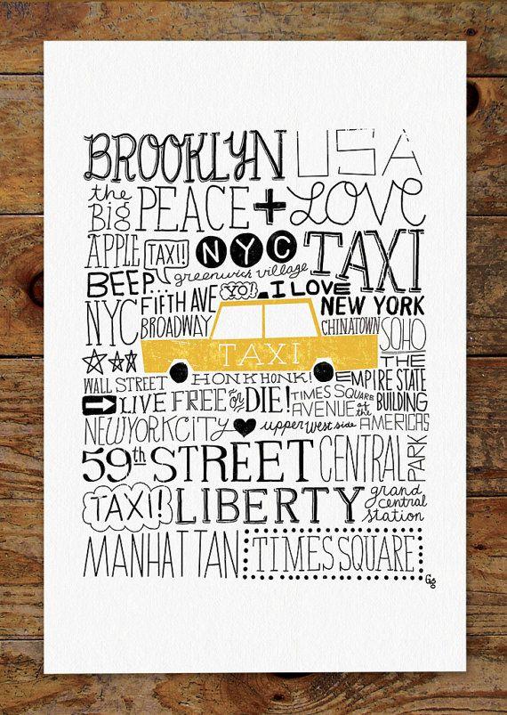 11x14 New York City Taxi Hand Lettering Art Print by groovygravy