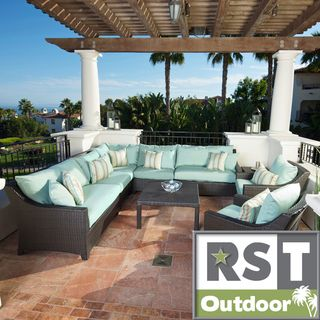 RST Brands Bliss 9 Piece Corner Sectional Sofa And Club Chairs Patio Set By  RST Brands