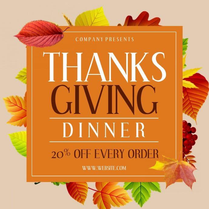 Thanksgiving In 2020 Restaurant Flyer Thanksgiving Poster Restaurant Poster