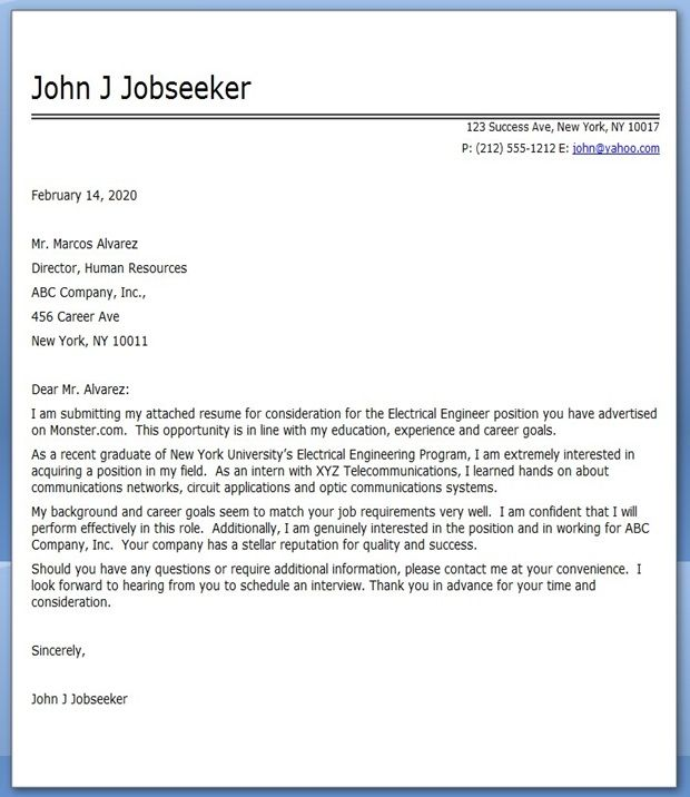 Electrical Engineering Cover Letter Examples  Creative Resume Design Templates Word  Sample
