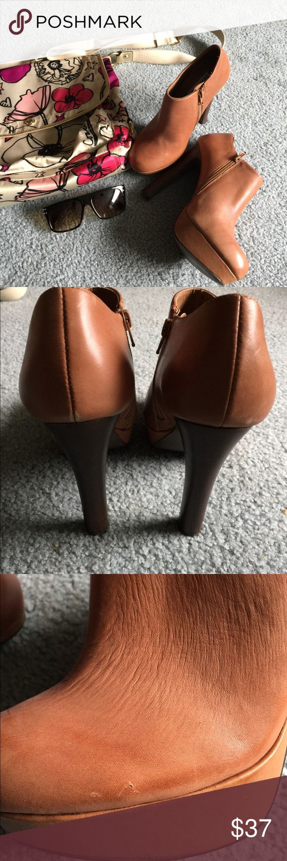 "Steve Madden Booties size 8.5M EUC Light brown ankle Steve Madden boots. Heel 5.5"". Some light scuffs as shown in pics. Very cute looking boots. Steve Madden Shoes Ankle Boots & Booties"