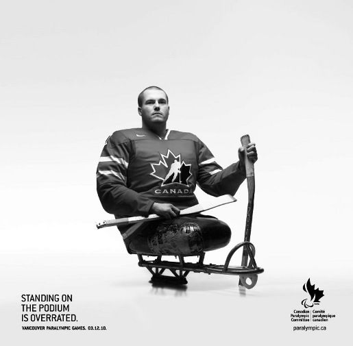 An inspirational and humorous poster featuring a player from the Team Canada of the 2010 Olympics.