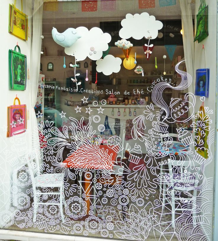 This window creates a theme that goes with the café it looks very pastel and vintage the pattern looks like a doodle on the glass