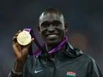 Gold medallist David Lekuta Rudisha of Kenya poses on the podium