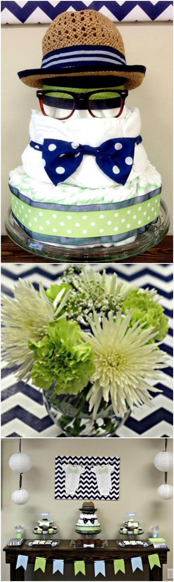 """The most darling """"Little Man"""" baby shower diaper cake and party ideas. Pin for so many cute BOY baby shower ideas!"""