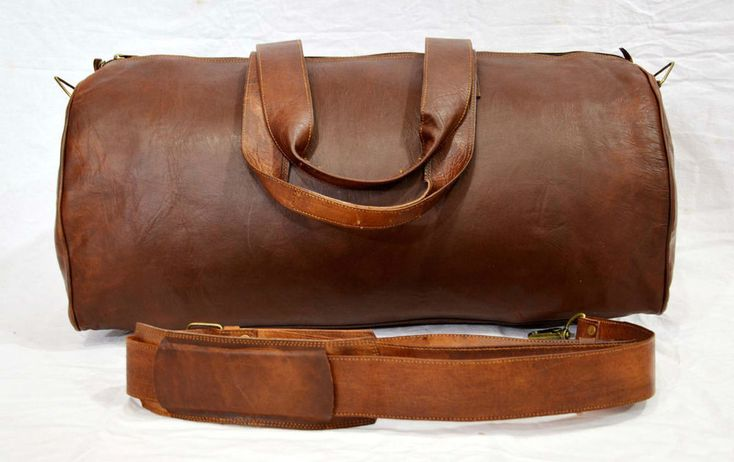 NEW Vintage Handmade Goat Leather Duffle Bag Gym Bag Overnight Bag Square #Handmade