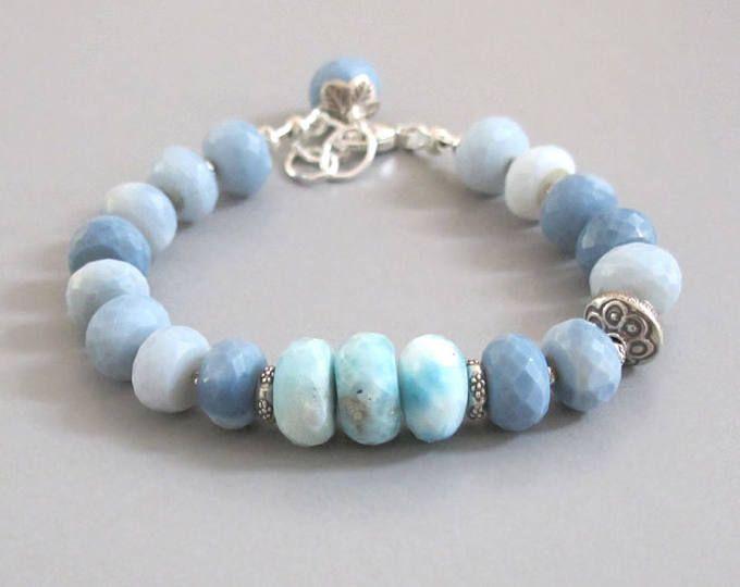 Ópalo azul Larimar Pulsera plata piedras preciosas DJStrang Cottage Boho Chic