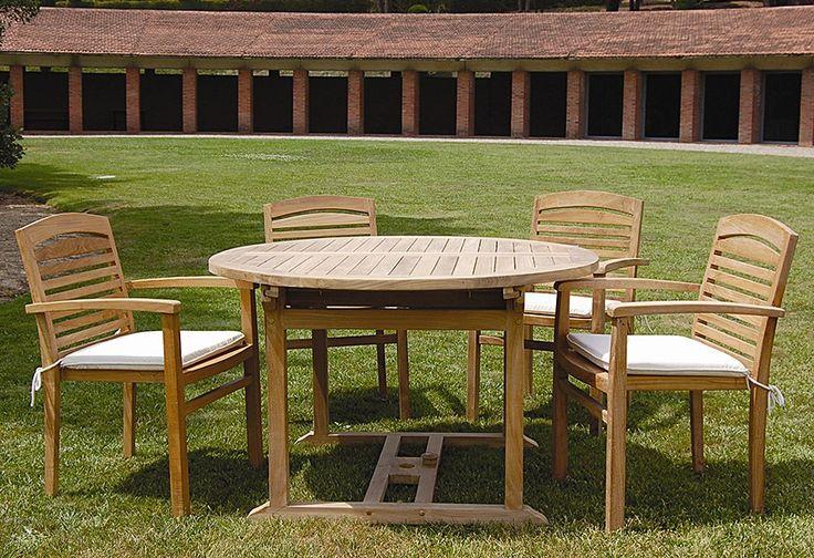 Colecci n teka mesa redonda extensible y sill n apilable - Mesas de teca exterior ...