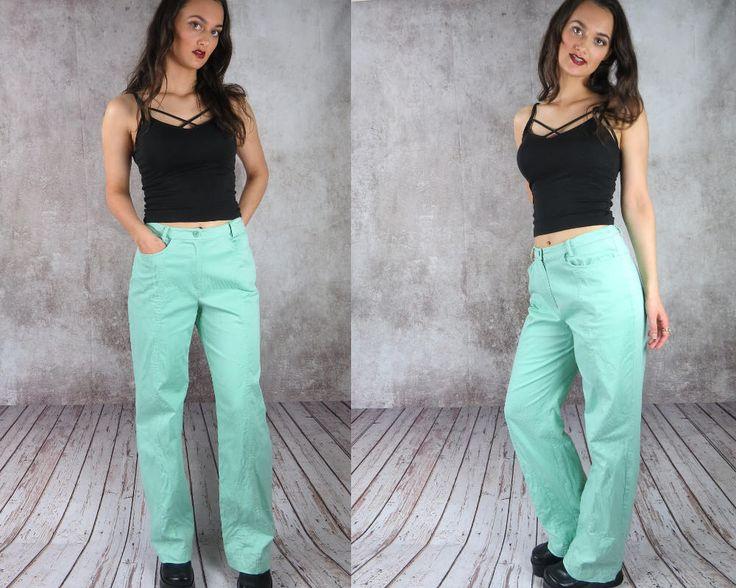 High Waisted Bell Bottom Pants / Light Blue Pants / Aqua Pants / Flare Pants / Corduroy Bell Bottoms / Pinstripe Pants / Striped Pants
