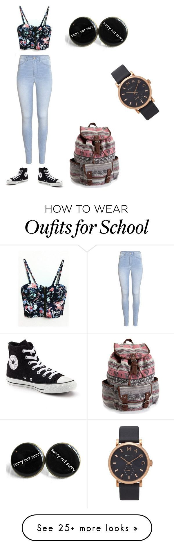 """School"" by laney2716 on Polyvore featuring WithChic, H&M, Converse, Marc Jacobs and Aéropostale"