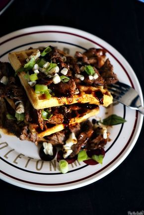 Pulled Pork Cornbread Waffles ... Edited to add -- I didn't follow this recipe, but I followed the picture and made cornbread waffles with jiffy cornbread mix and a cup of cheese, then had BBQ pulled pork and green onions as the topping, and it was verrrry good and verrrry easy.