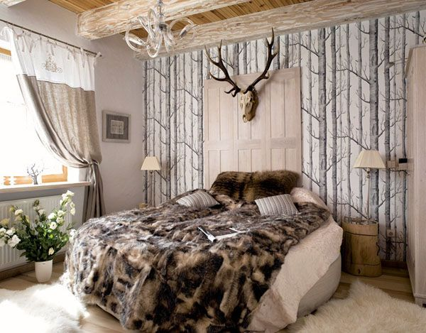 bedroom in the wild forest. Interior Design Ideas. Home Design Ideas