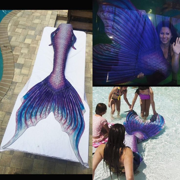 """The finished """"Galaxy"""" tail at home with @mermaidallora ✨ this new fluke design is a modification of our """"Athena"""" fluke. #mernation #mermaids #siliconetail #mermaidtail #silicone #mermaid"""