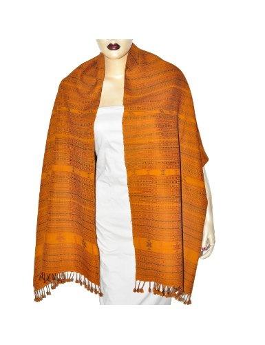 Grande écharpe orange brodée tendance en laine - Mode femme: Amazon.fr: Vêtements et accessoires