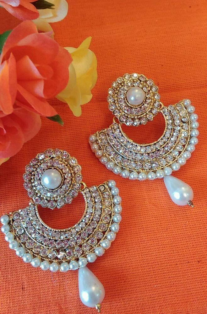 Ram leela gold pearl jewellery Bollywood Indian fashion dangle earrings Saree