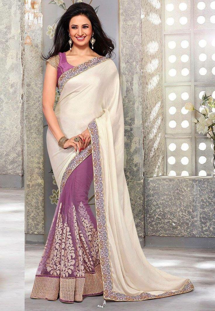 Light Purple Off White Sari