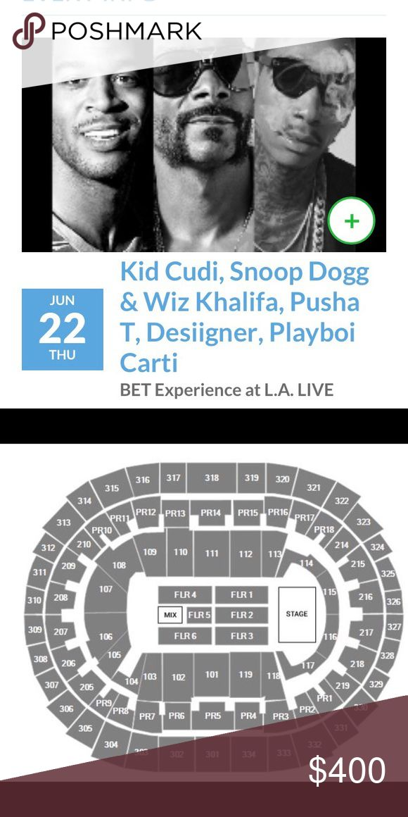 Kid Cudi, Wiz Khalifa, Snoop Dogg, Desiigner & mor I have two tickets to the BET Experience concert on June 22nd. It's in Los Angeles, California at the STAPLES Center. I bought them but unfortunately can't go anymore so I need to get rid of them 😩 they're FLOOR 5, ROW 2, SEATS 11&12. I'll sell through PP for $350!! Other