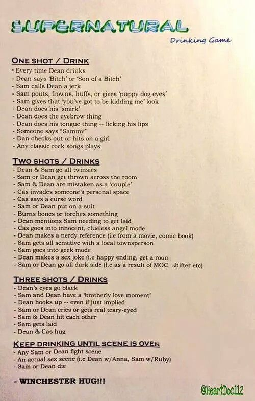 Supernatural drinking game!! :P