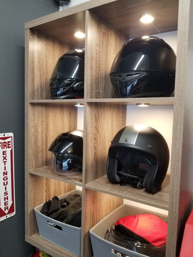 Motorcycle Helmet And Gear Storage Cabinet For My Garage
