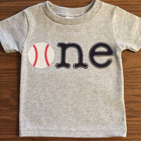 Baby Boy first birthday Baseball shirt ONE baseball by GigiandMax