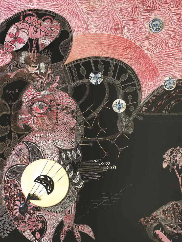 Joshua Yeldham, Fertility Owl - Black Moon, oil, cane and instrument on carved board, 203 x 153 cm