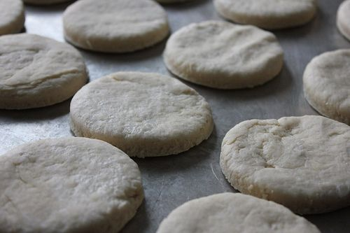 Homemade Freezer Biscuits  4 cups flour  2 Tablespoons baking powder  1 teaspoon salt  1 cup shortening, butter, or coconut oil 1 3/4 cup milk