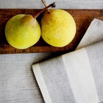 Wonga Road Tableware – Cotton/Linen wheat tablecloth and stripe napkin