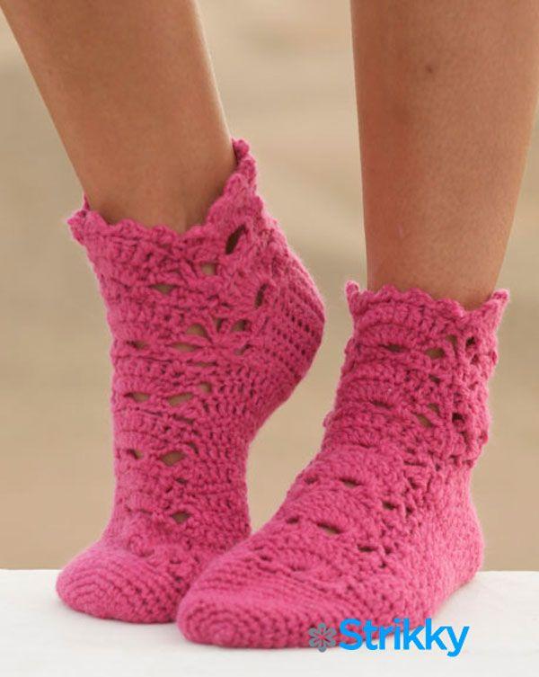 Ажурные носки «Milla» от Drops Design, вязаные крючком   Блог elisheva.ru