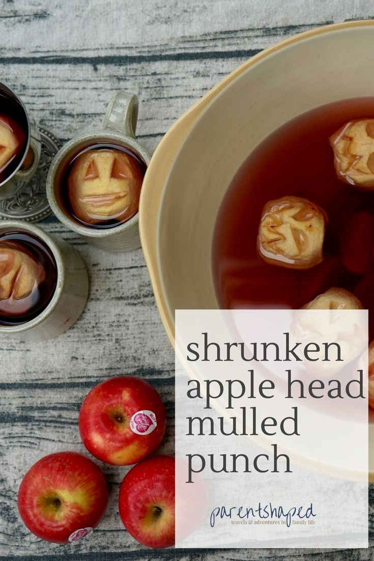 Halloween Shrunken Apple Head Mulled Punch, an easy and fun Halloween recipe for kids, gorgeous mulled blackcurrant and apple punch for kids, with a mulled cider punch for grown ups too.