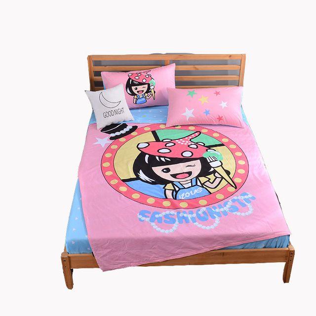Pink girls bedding set twin size 3/4pcs duvet cover set blue bed sheets 100% cotton quilt cover pillowcase children bed linens