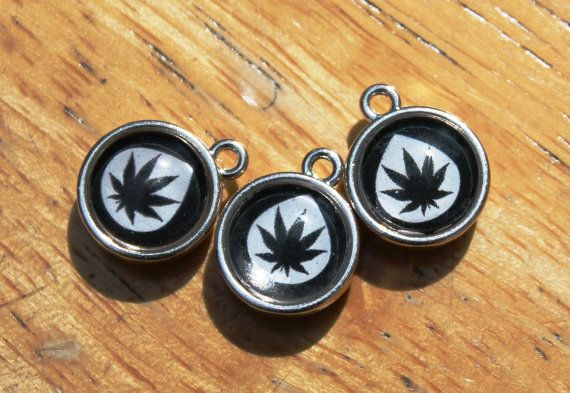 Three Tiny Cannabis Leaf Infused Glass Double by SerafinaKnits