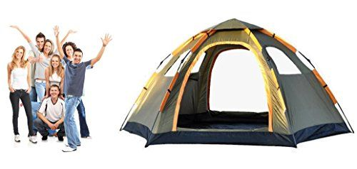 TuTu Outdoors 6-8 Person Super Big Tent for Sale , 3 Second Automatic Easy Set-up, Easy Fold, Rain Proof, Anti-UV,2 Doors 4 Windows w/ Net, Durable,for Camping Hiking Beach Party Family