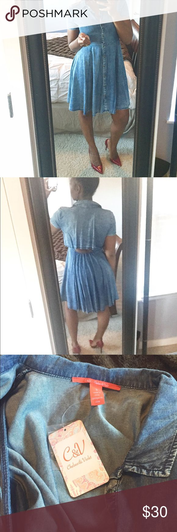 Denim Skater Dress! Fun and flirty denim skater dress that buttons all the way down and also features a super cute opening on back! Can be dressed up or down! Never worn! Chelsea & Violet Dresses