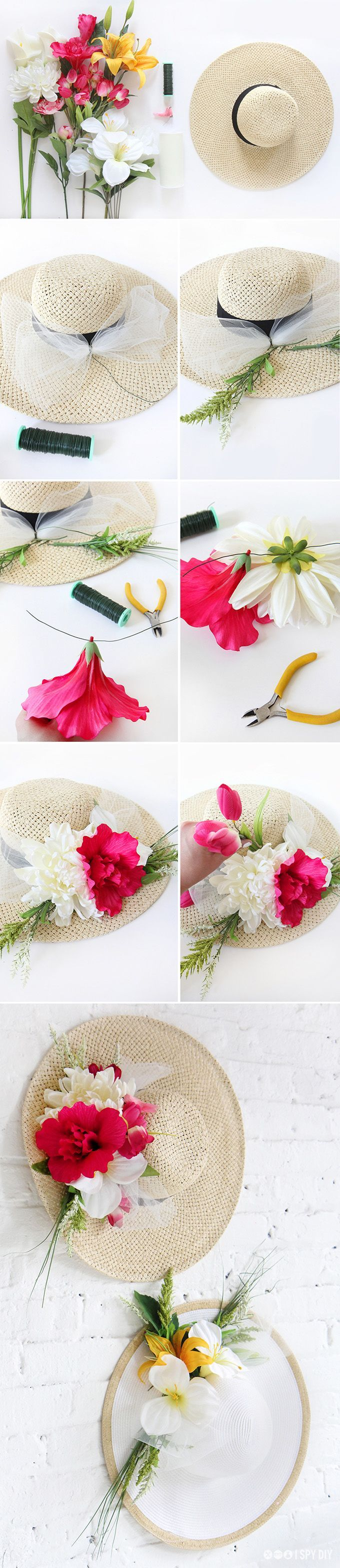 DIY Flower Derby Hat. Find high-quality silk flowers at Afloral.com for your Derby Day Hat
