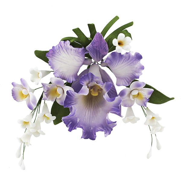 Cattleya Orchid Spray, Violet, 4 Count by Chef Alan Tetreault New Fondant, Coloring, Flowers & Edibles