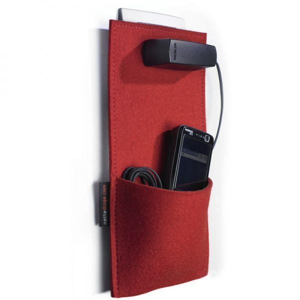 Ladetasche rot - nettedinge #red #felt #charging #mobile