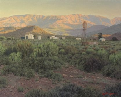 Late afternoon rhino veld Oil on canvas  by Robert Koch