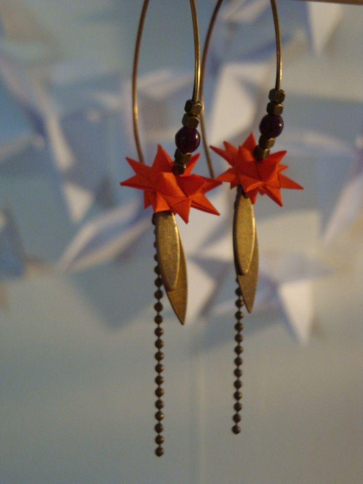 Boucles d'oreille Origami : Boucles d'oreille par supercheries. Sur www.alittlemarket.com