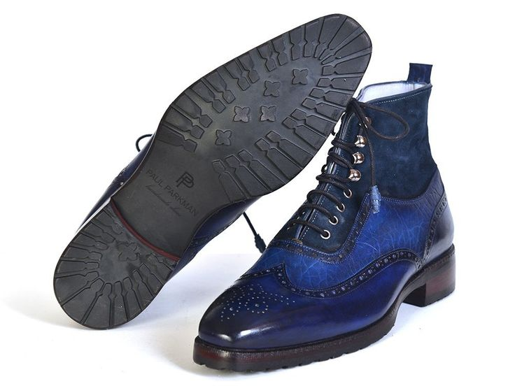 - Wingtip perforated men's lace up boots - Blue suede & leather upper - Rubber sole with a leather layer. - Cream leather lining and inner sole This is a made-to-order product. Please allow 15 days fo