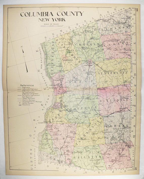 Large 1912 Map Columbia County NY Map, New York County Map, Hudson NY Chatham NY, Vintage Art Map, 1st Anniversary Gift, Hudson River available from www.OldMapsandPrints.Etsy.com #ColumbiaCountyNYLargeAntiqueMap #NewYorkCountyMap #1912BigNYCountyMap #HistoricalMap