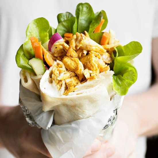 Rotisserie Chicken Shawarma Pita Wrap - delicious, virtually no-cook and easy, as it starts with rotisserie chicken!