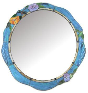 Large Blue Dragonfly & Floral Art Deco Tiffany Stained Glass Wall Mounted Mirror: Amazon.co.uk