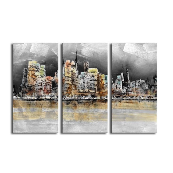 Prints with hand painted texture 'Imaginary City' 3-piece Gallery-wrapped Canvas Art Set
