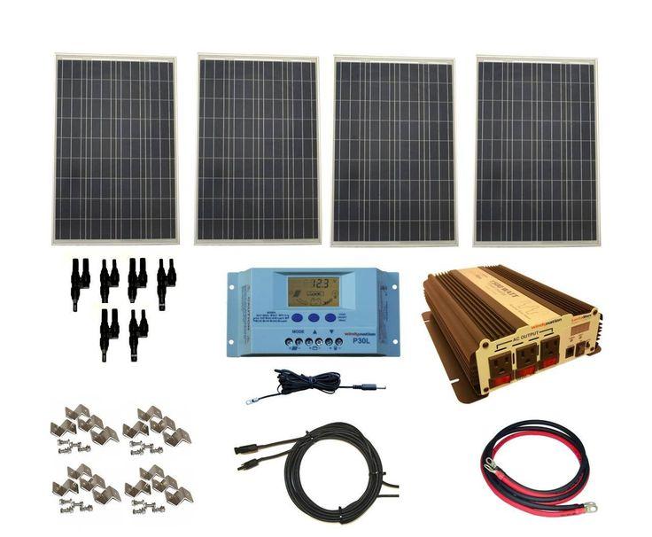 Complete 400 Watt Solar Panel Kit with 1500 Watt VertaMax Power Inverter for RV & Off-Grid