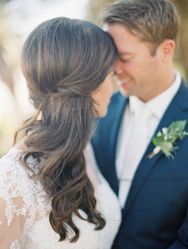 pretty half up half down sideswept wedding hair  ~  we ❤ this! moncheribridals.com