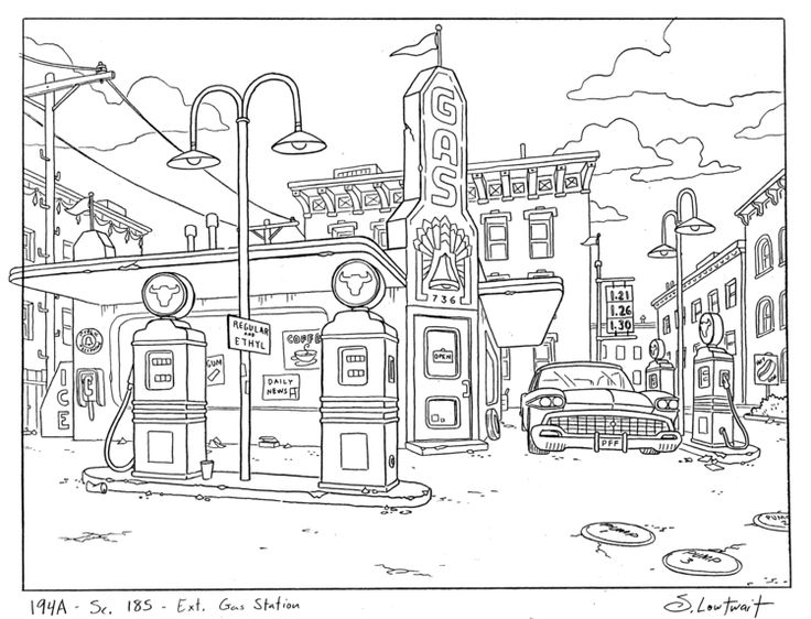 gas station coloring page - photo #40